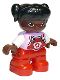 Minifig No: 47205pb075  Name: Duplo Figure Lego Ville, Child Girl, Red Legs, Bright Pink Top with Flower on Pocket, White Arms, Black Hair Pigtails, Round Eyes
