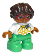 Minifig No: 47205pb076  Name: Duplo Figure Lego Ville, Child Girl, Bright Green Legs, White Top with Yellow Pattern and Blue Bow, Dark Brown Wavy Hair, Magenta Glasses