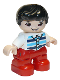 Minifig No: 47205pb077  Name: Duplo Figure Lego Ville, Child Boy, Red Legs, White Top with Medium Azure and Dark Blue Stripes, Black Hair