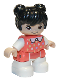 Minifig No: 47205pb078  Name: Duplo Figure Lego Ville, Child Girl, White Legs, Coral Top with Polka Dots Pattern, White Arms, Black Hair