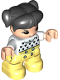 Minifig No: 47205pb079  Name: Duplo Figure Lego Ville, Child Girl, Bright Light Yellow Legs, White Top with Black Hearts, Black Hair with Pigtails, Light Nougat Skin