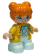 Minifig No: 47205pb084  Name: Duplo Figure Lego Ville, Child Girl, Light Aqua Legs, Yellow Jacket with Medium Azure Top with Flowers, Orange Hair