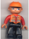 Minifig No: 47394pb001  Name: Duplo Figure Lego Ville, Male, Black Legs, Orange Vest, Orange Construction Helmet