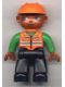 Minifig No: 47394pb002  Name: Duplo Figure Lego Ville, Male, Black Legs, Orange Vest, Orange Construction Helmet, Dark Skin