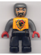 Minifig No: 47394pb003  Name: Duplo Figure Lego Ville, Male Castle, Black Legs, Bright Light Orange Chest, Dark Bluish Gray Arms, Red Hands