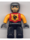 Minifig No: 47394pb004  Name: Duplo Figure Lego Ville, Male Castle, Black Legs, Red Chest, Bright Light Orange  Arms, Dark Bluish Gray Hands