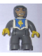 Minifig No: 47394pb008  Name: Duplo Figure Lego Ville, Male Castle, Dark Bluish Gray Legs, White Chest, Dark Bluish Gray Arms, Yellow Hands