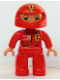 Minifig No: 47394pb009  Name: Duplo Figure Lego Ville, Male, Red Legs, Red Top with Ferrari / Shell / Vodafone Pattern (Racer)