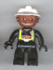 Minifig No: 47394pb010  Name: Duplo Figure Lego Ville, Male Fireman, Black Legs, Black Hands, White Helmet, Brown Face