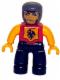 Minifig No: 47394pb012  Name: Duplo Figure Lego Ville, Male Castle, Black Legs, Red Chest, Bright Light Orange  Arms, Bright Light Orange Hands