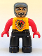 Minifig No: 47394pb014  Name: Duplo Figure Lego Ville, Male Castle, Black Legs, Bright Light Orange Chest, Red Arms, Red Hands