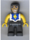 Minifig No: 47394pb017  Name: Duplo Figure Lego Ville, Male Castle, Dark Bluish Gray Legs, White Chest, Yellow Arms, Yellow Hands