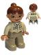 Minifig No: 47394pb021  Name: Duplo Figure Lego Ville, Female, Dark Tan Legs, Tan Top, Reddish Brown Ponytail Hair, Green Eyes (Zoo Keeper)