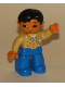 Minifig No: 47394pb023a  Name: Duplo Figure Lego Ville, Male, Blue Legs, Tan Top with Buttons and Rag in Pocket, Black Hair, Flesh Hands (Mechanic)