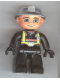 Minifig No: 47394pb025  Name: Duplo Figure Lego Ville, Male Fireman, Black Legs, Black Hands, Silver Helmet, Blue Eyes