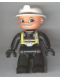Minifig No: 47394pb026  Name: Duplo Figure Lego Ville, Male Fireman, Black Legs, Black Hands, White Helmet, Light Gray Moustache
