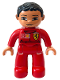Minifig No: 47394pb027  Name: Duplo Figure Lego Ville, Male, Red Legs, Red Top with Ferrari / Shell / Vodafone Pattern (Mechanic)