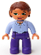 Minifig No: 47394pb028  Name: Duplo Figure Lego Ville, Female, Dark Purple Legs, Light Violet Top, Reddish Brown Hair