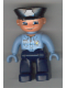 Minifig No: 47394pb031  Name: Duplo Figure Lego Ville, Male Police, Dark Blue Legs, Light Blue Top with Badge, Light Blue Hands, Black Hat
