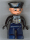 Minifig No: 47394pb033  Name: Duplo Figure Lego Ville, Male Police, Dark Blue Legs, Black Top with Badge, Black Arms, Black Hands, Black Hat