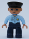 Minifig No: 47394pb034  Name: Duplo Figure Lego Ville, Male Police, Black Hat, Nougat Head and Hands,  Light Blue Shirt with Badge, Dark Blue Legs