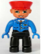 Minifig No: 47394pb046  Name: Duplo Figure Lego Ville, Male, Black Legs, Blue Jacket with Tie, Blue Hands, Red Hat, Smile with Teeth (Train Conductor)