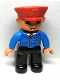 Minifig No: 47394pb046a  Name: Duplo Figure Lego Ville, Male Train Conductor, Light Nougat Head and Hands, Smile with Teeth, Blue Jacket with Tie, Black Legs