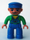 Minifig No: 47394pb048  Name: Duplo Figure Lego Ville, Male, Blue Legs, Green Top with Yellow Scarf, Blue Cap, Curly Moustache (Train Engineer)