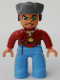 Minifig No: 47394pb050  Name: Duplo Figure Lego Ville, Male Pirate, Medium Blue Legs, Dark Red Top, Dark Bluish Gray Pirate Hat, Blue Eyes