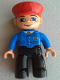 Minifig No: 47394pb051  Name: Duplo Figure Lego Ville, Male Train Conductor, Red Hat, Light Nougat Head and Hands, Smile with Closed Mouth, Blue Jacket with Tie, Black Legs