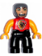 Minifig No: 47394pb056  Name: Duplo Figure Lego Ville, Male Castle, Black Legs, Red Chest with Dragon Shield, Bright Light Orange Arms and Hands, Stubble and Open Mouth