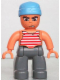 Minifig No: 47394pb060  Name: Duplo Figure Lego Ville, Male Pirate, Dark Bluish Gray Legs, Red and White White Striped Top, Medium Blue Cloth Wrap (Pirate)
