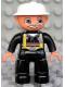 Minifig No: 47394pb061  Name: Duplo Figure Lego Ville, Male Fireman, Black Legs, Flesh Hands, White Helmet, Light Gray Moustache
