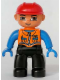 Minifig No: 47394pb063  Name: Duplo Figure Lego Ville, Male, Black Legs, Orange Vest with Two Pockets and Pen, Blue Hands, Red Construction Helmet (Train Engineer)