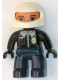 Minifig No: 47394pb067  Name: Duplo Figure Lego Ville, Male Police, Dark Blue Legs, Black Top with Badge, Black Arms and Hands, White Helmet