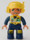 Minifig No: 47394pb069  Name: Duplo Figure Lego Ville, Male, Dark Blue Legs & Jumpsuit with Yellow Vest, Radio, ID Badge, Yellow Cap with Headset, Wide Smile