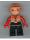 Minifig No: 47394pb072  Name: Duplo Figure Lego Ville, Male, Black Legs, Orange Vest, Orange Construction Helmet, Red Hands