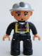 Minifig No: 47394pb077  Name: Duplo Figure Lego Ville, Male Fireman, Black Legs, Flesh Hands, Silver Helmet, Blue Eyes (4558027)