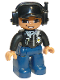 Minifig No: 47394pb081  Name: Duplo Figure Lego Ville, Male Police, Black Cap with Headset, Light Nougat Head and Hands, Black Shirt with Badge, Dark Blue Legs