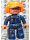 Minifig No: 47394pb082  Name: Duplo Figure Lego Ville, Male, Dark Blue Legs & Jumpsuit with Straps, Orange Cap with Headset