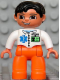 Minifig No: 47394pb086  Name: Duplo Figure Lego Ville, Male Medic, Orange Legs, White Top with ID Badge and EMT Star of Life Pattern, Black Hair, Brown Eyes