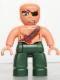 Minifig No: 47394pb088  Name: Duplo Figure Lego Ville, Male Pirate, Dark Green Legs, Nougat Top with Strap and Dynamite, Bald Head, Eyepatch