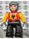 Minifig No: 47394pb092  Name: Duplo Figure Lego Ville, Male Castle, Black Legs, Red Chest, Bright Light Orange Arms, Dark Bluish Gray Hands, Wide Grin