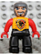 Minifig No: 47394pb093  Name: Duplo Figure Lego Ville, Male Castle, Black Legs, Bright Light Orange Chest, Red Arms, Red Hands, Wide Crooked Grin