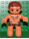 Minifig No: 47394pb098  Name: Duplo Figure Lego Ville, Male, Nougat Legs, Reddish Brown Hips, Tooth Necklace Pattern, Reddish Brown Hair (Caveman)