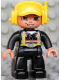 Minifig No: 47394pb100  Name: Duplo Figure Lego Ville, Male Fireman, Black Legs, Flesh Hands, Yellow Cap with Headset