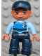 Minifig No: 47394pb106  Name: Duplo Figure Lego Ville, Male, Dark Blue Legs, Light Blue Top with Life Jacket and Badge, Dark Blue Cap