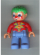 Minifig No: 47394pb108  Name: Duplo Figure Lego Ville, Male Clown, Medium Blue Legs, Red Top, Green Hair