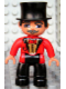 Minifig No: 47394pb110  Name: Duplo Figure Lego Ville, Male Circus Ringmaster, Black Legs, Red Top with Bow Tie, Top Hat, Blue Eyes