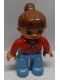 Minifig No: 47394pb114a  Name: Duplo Figure Lego Ville, Female, Medium Blue Legs, Red Jacket with White Zipper and Pockets, Reddish Brown Ponytail Hair